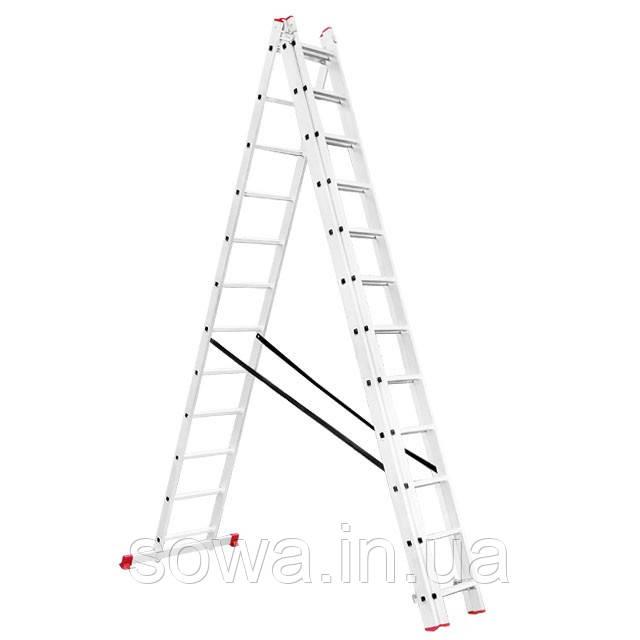 Лестница алюминиевая 3-х секционная раскладная INTERTOOL LT-0312