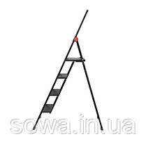 """Стрем'янка алюмінієва """"Black Slim"""", 4 ступені, висота верхньої сходинки 912 мм, 150 кг, STORM INTERTOOL LT-5004, фото 2"""