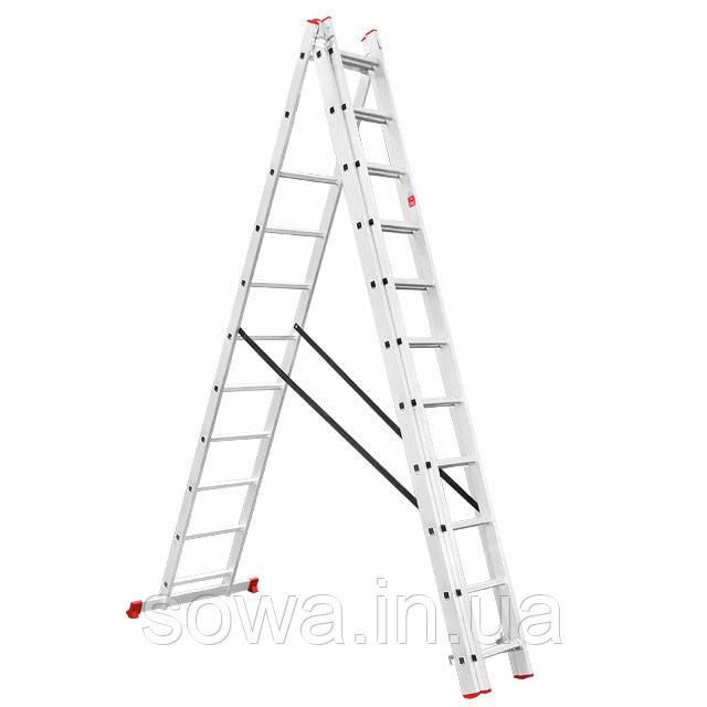Лестница алюминиевая 3-х секционная раскладная INTERTOOL LT-0311