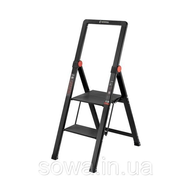 """Стрем'янка алюмінієва """"Black Slim"""", 2 ступені, висота верхньої сходинки 456мм, 150 кг, STORM INTERTOOL LT-5002"""
