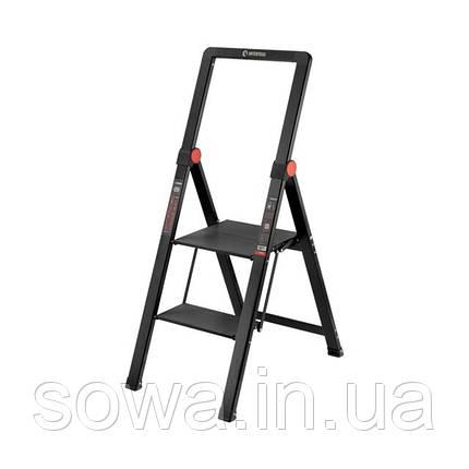 """Стрем'янка алюмінієва """"Black Slim"""", 2 ступені, висота верхньої сходинки 456мм, 150 кг, STORM INTERTOOL LT-5002, фото 2"""