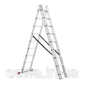 Лестница алюминиевая 3-х секционная раскладная INTERTOOL LT-0308, фото 2