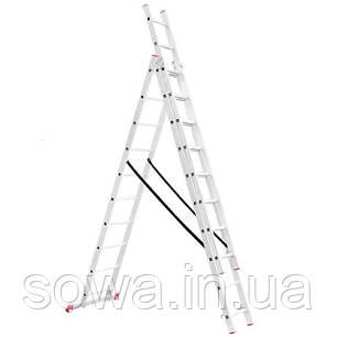 Лестница алюминиевая 3-х секционная раскладная INTERTOOL LT-0310, фото 2