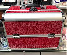 Б'юті алюмінієвий кейс валізу з ключем червоний кроко кожзам