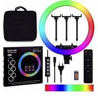 Цветная Селфи лампа кольцо 45 см Кольцевая RGB Led лампа 45см блогера лампа тик ток ютуб  кольцевой свет