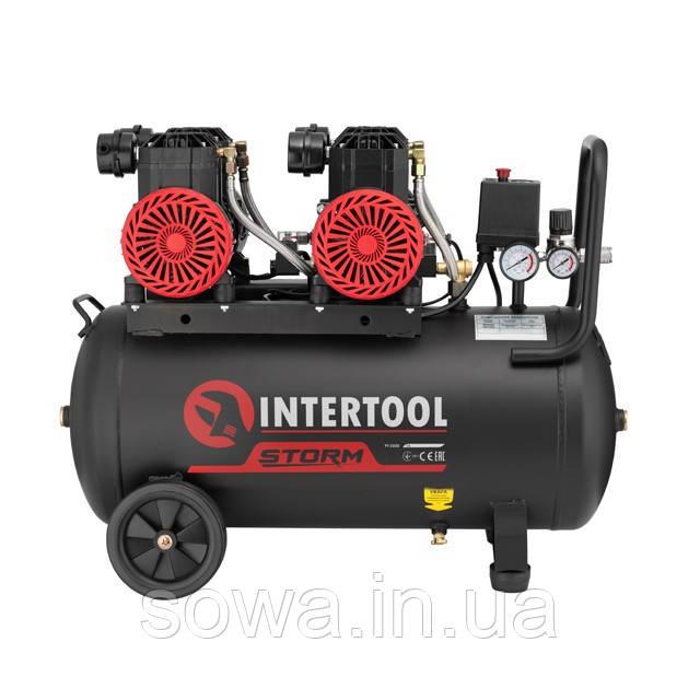 Компрессор безмасляный INTERTOOL PT-0030 : 50л, 2x1.1кВт,  4 цилиндра