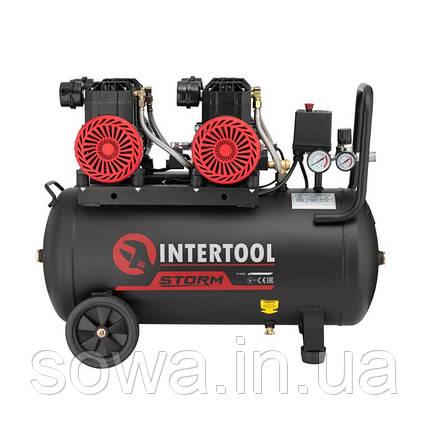 Компрессор безмасляный INTERTOOL PT-0030 : 50л, 2x1.1кВт,  4 цилиндра, фото 2