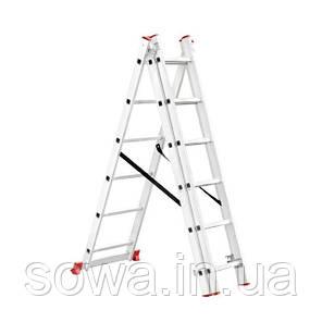 Лестница алюминиевая 3-х секционная раскладная INTERTOOL LT-0306, фото 2