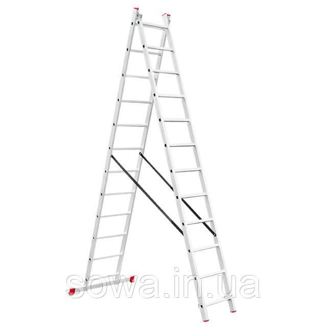 Лестница алюминиевая 2-х секционная раскладная INTERTOOL LT-0212