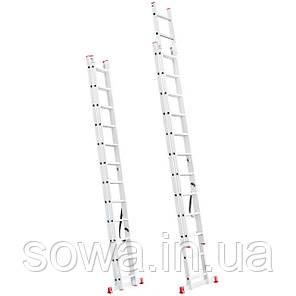 Лестница алюминиевая 2-х секционная раскладная INTERTOOL LT-0212, фото 2