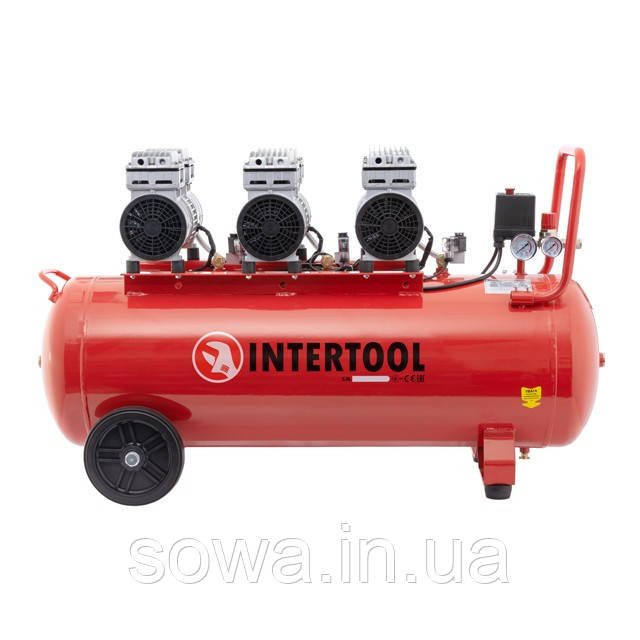 Компрессор безмасляный INTERTOOL PT-0024 : 100л, 3х0.75кВт, 6 цилиндров