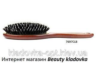 Масажний гребінець дерев'яний Salon Professional (зуби пластик + щетина)