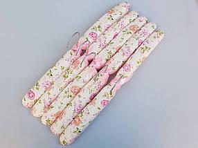 Плічка вішалки тремпеля м'які тканинні для делікатних речей квітчасті, довжина 38 см,в упаковці 5 штук, фото 3
