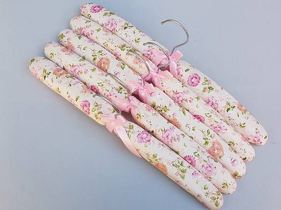 Плічка вішалки тремпеля м'які тканинні для делікатних речей квітчасті, довжина 38 см,в упаковці 5 штук, фото 2