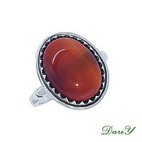 Серебряное  кольцо С Природным Сердоликом