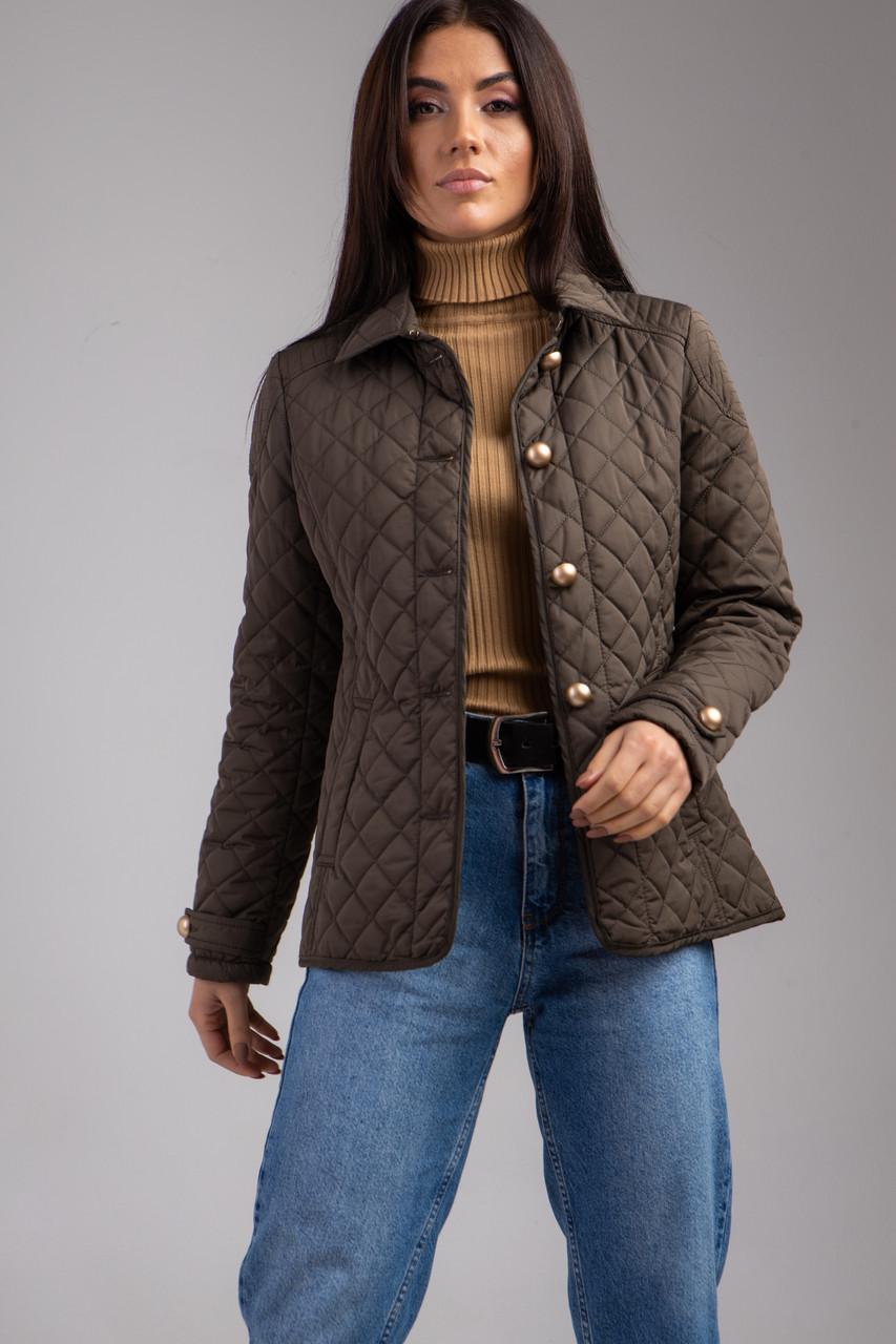 Демисезонная стеганная женская короткая куртка в цветах молоко и хаки  в 4 размерах: S, M, L, XL.