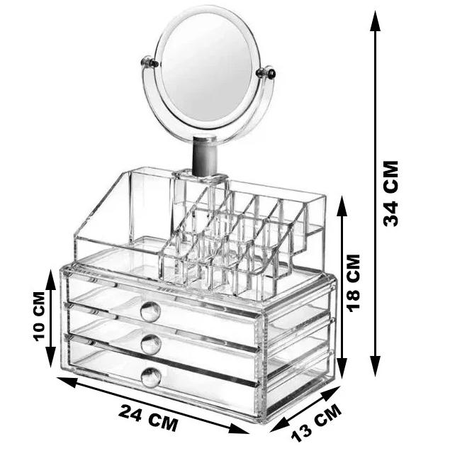 Акриловый органайзер для косметики с зеркалом настольный GW 666