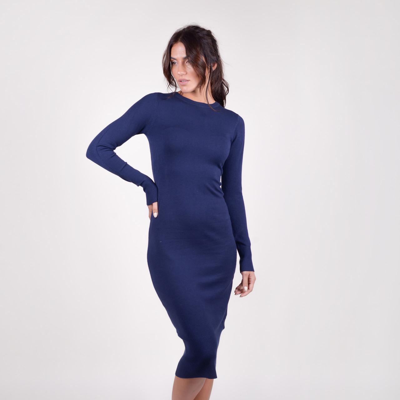 Приталенное платье-миди с круглой горловиной в 4 цветах в размере S/M L/XL.