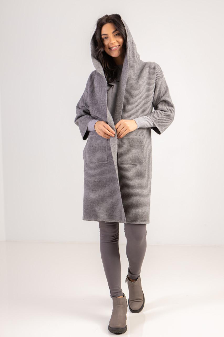Стильный кардиган с карманами и капюшоном длиною по колено в сером цвете в размере S/M и  L/LX