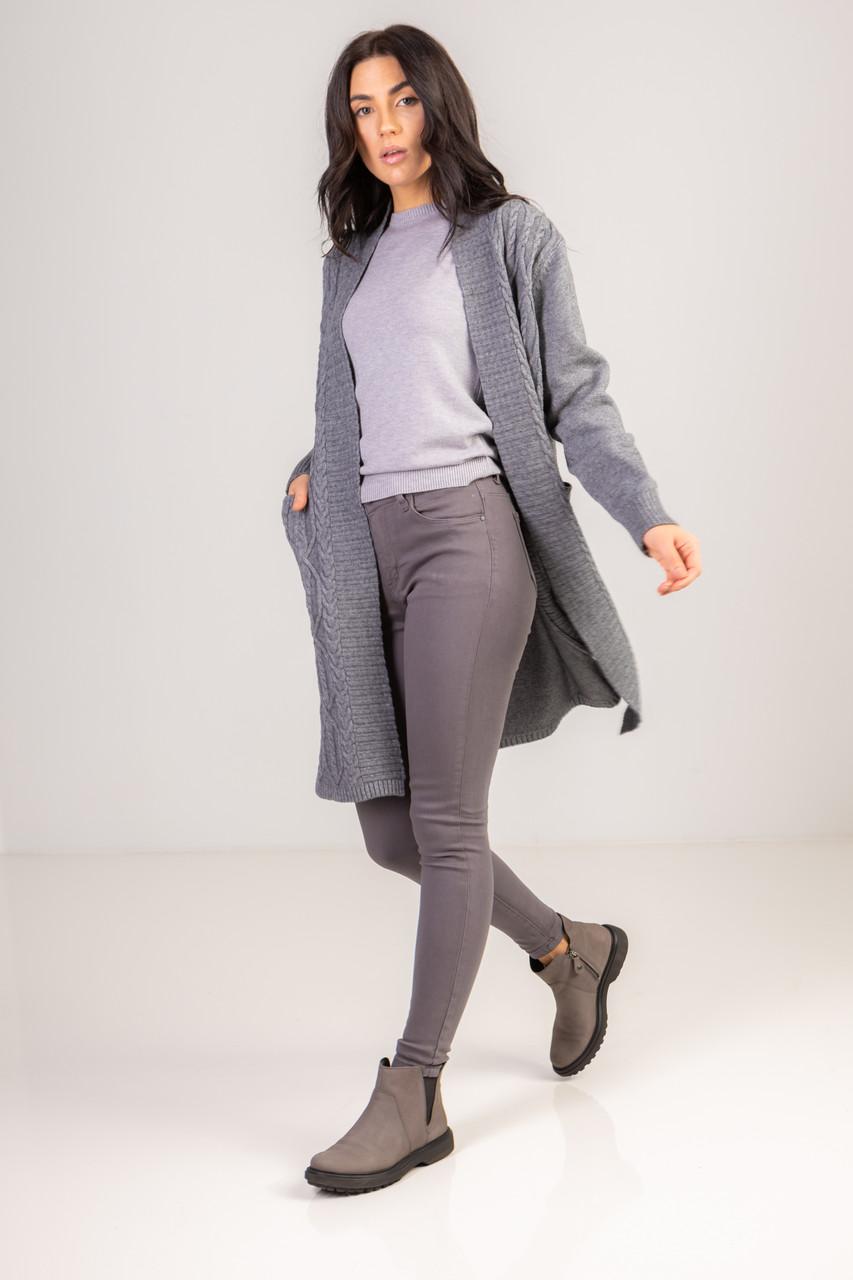 Затишний кардиган під в'язку косичку з кишенями завдовжки по коліно в 4 мікс кольорах в розмірі S/M і L/LX