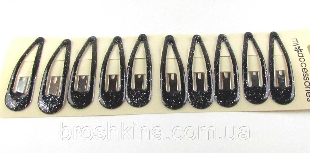 Заколки тик-так с силиконовым покрытием черные с блестками 6,5 см