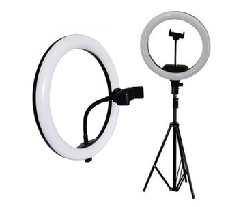 Лампа кільцева світлодіодна 40см, з тримачем,блок живлення №A380
