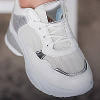 Стильні білі жіночі кросівки під джинси плаття еко-шкіра сітка Белые женские кроссовки на каждый день
