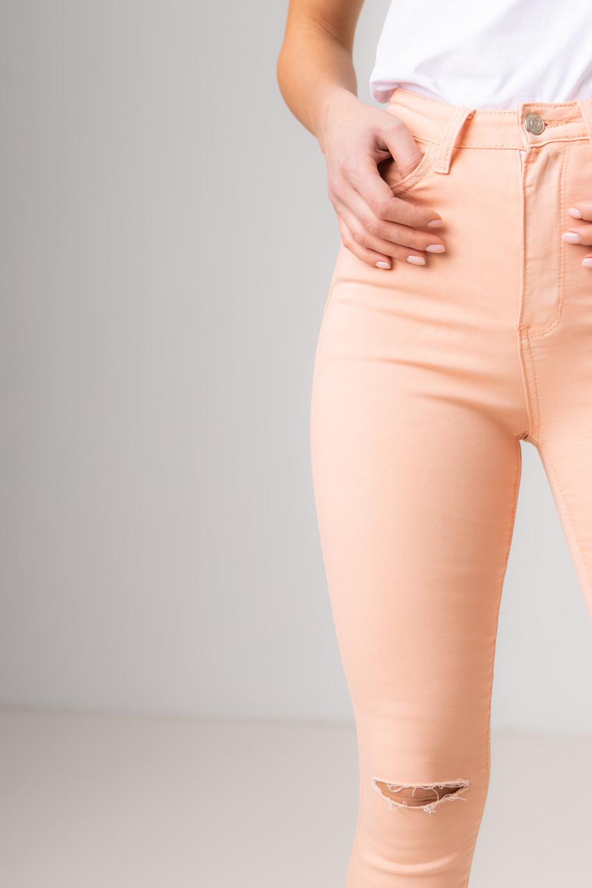 Ультра модные джинсы-скинни и разрезом на коленях со средней  посадкой в размерах: S, M, L, XL в 2 цветах