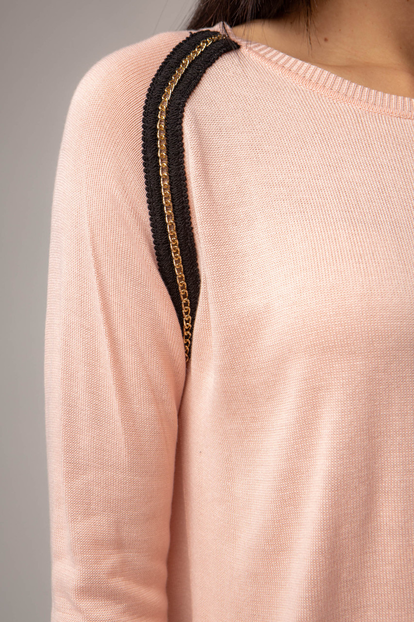 Тонка вільна жіноча кофта з круглим вирізом з ланцюжком в 2 кольорах в універсальному розмірі