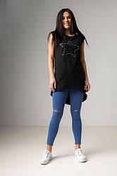 Подовжена футболка з принтом і паєтками Зірка в чорному кольорі в розмірах S/M, L/XL.