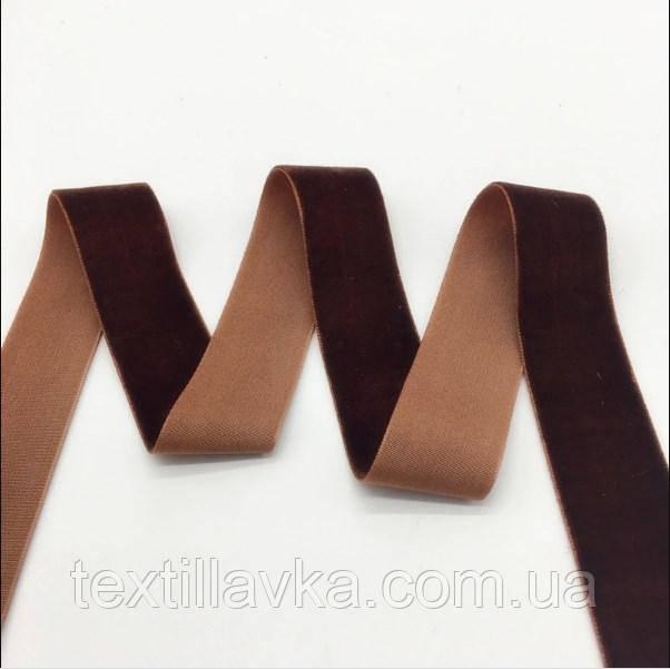 Оксамитова стрічка коричнева 25мм