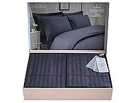 Комплект постельного белья Maison D'or New Rails Antracite сатин 220-200 см темно серый