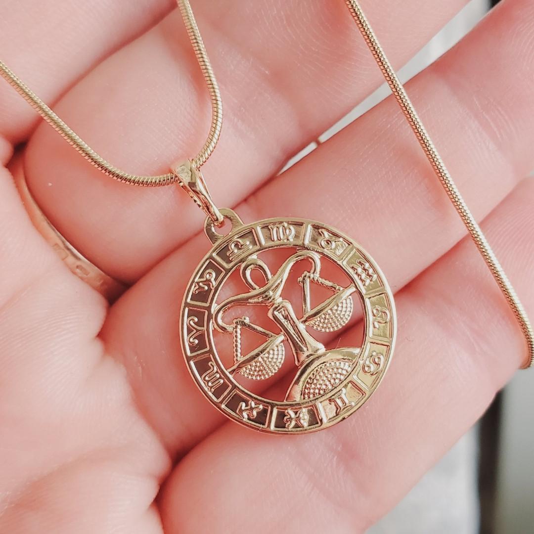 """Кулон знак зодиака """"Весы"""" 2.7см с цепочкой 1мм 55см Xuping медицинское золото позолота 18К 9246"""