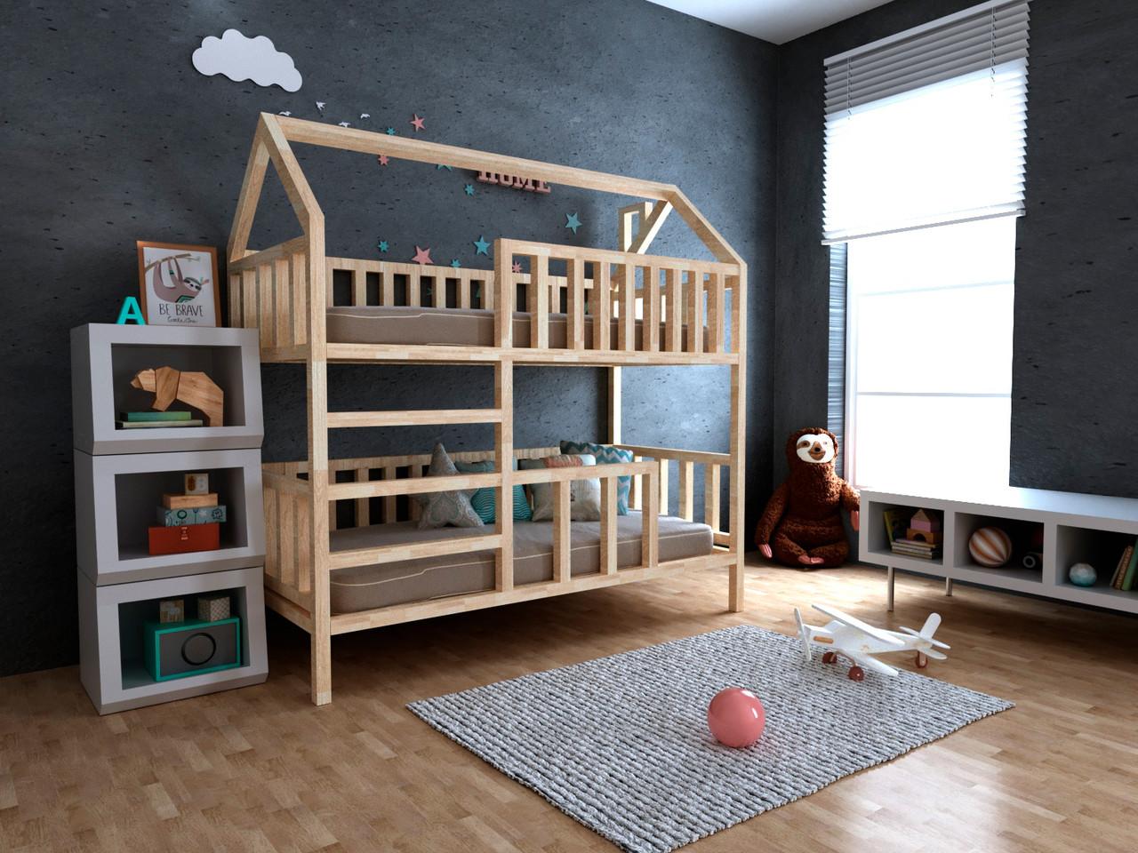 Дитяча Дерев'яна двох'ярусна ліжко будиночок Моллі 70х140 см ТМ MegaOpt