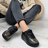 Кросівки / кеди жіночі нікель/темне срібло еко шкіра-лак весна/ осінь, фото 4