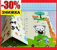 """Развивающий игровой коврик на пол для детей """"Животные - Ростомер"""" 2000х1500х10 мм Детские коврики для ползания"""