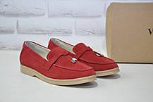 Женские мокасины, лоферы, туфли без каблука натуральный замш красные Dino Vittorio
