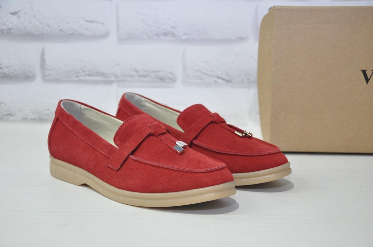 Жіночі мокасини, лофери, туфлі без каблука натуральний замш червоні Dino Vittorio