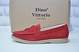 Женские мокасины, лоферы, туфли без каблука натуральный замш красные Dino Vittorio, фото 4