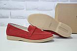 Жіночі мокасини, лофери, туфлі без каблука натуральний замш червоні Dino Vittorio, фото 3