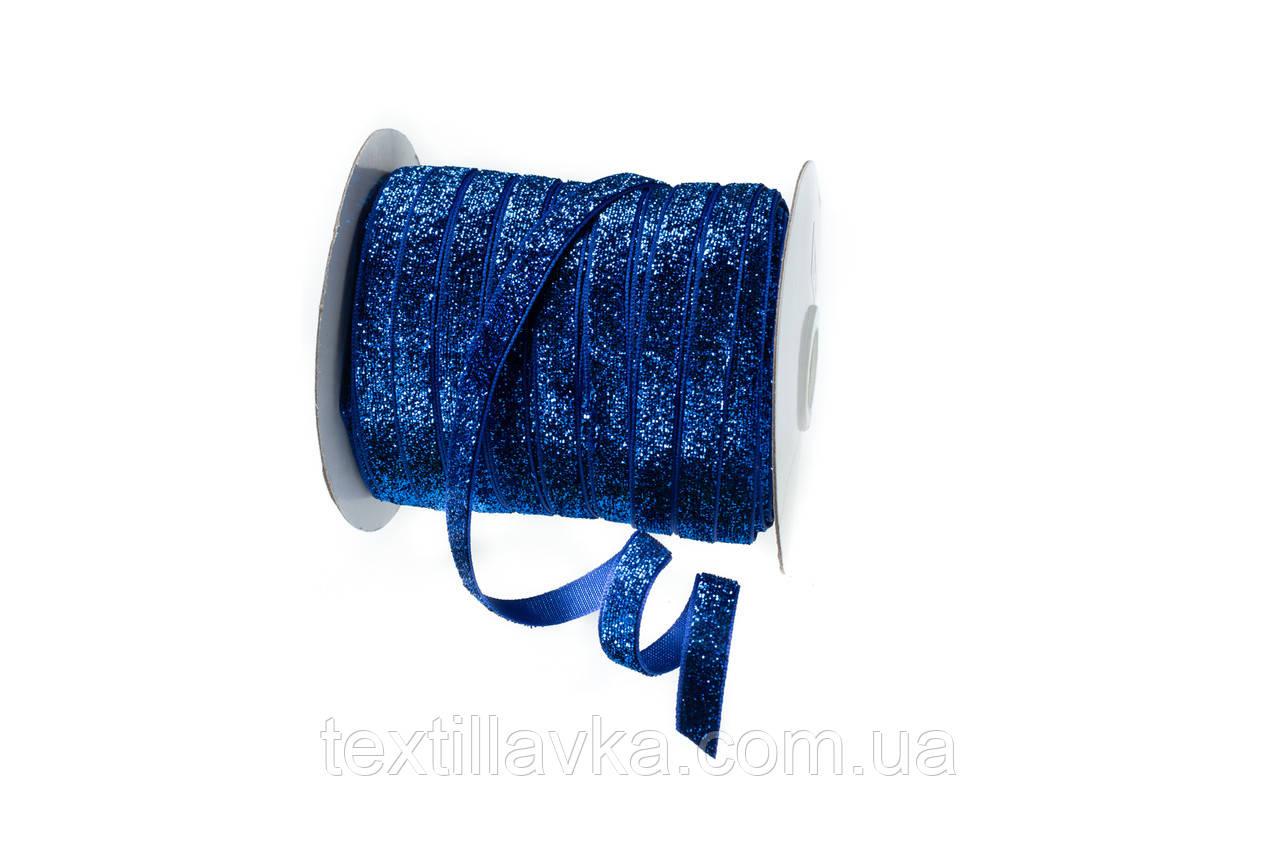 Оксамитова стрічка синя з люрексом 1см