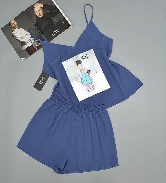 Синій комплект майка шорти з малюнком ТМ Este . Піжама.