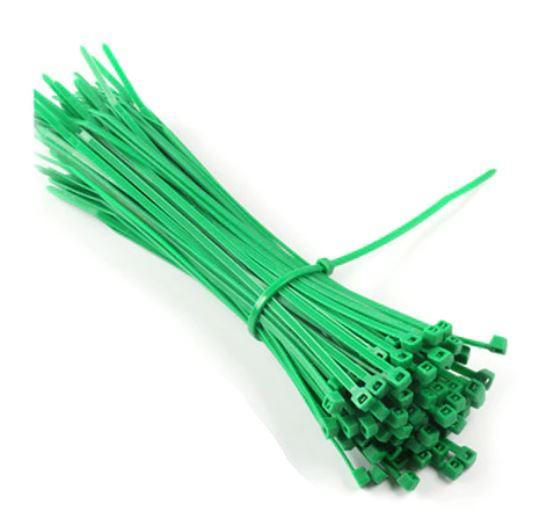 Кабельна стяжка 5*400 (4,8*400) нейлонова зеленого кольору 100шт.