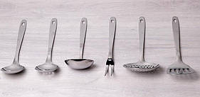 Набір кухонних аксесуарів Kamille Crystal в металевому склянці (7 предметів)
