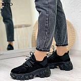 ТІЛЬКИ 39,40 р!!! Жіночі кросівки чорні еко-замша підошва 5 см, фото 2