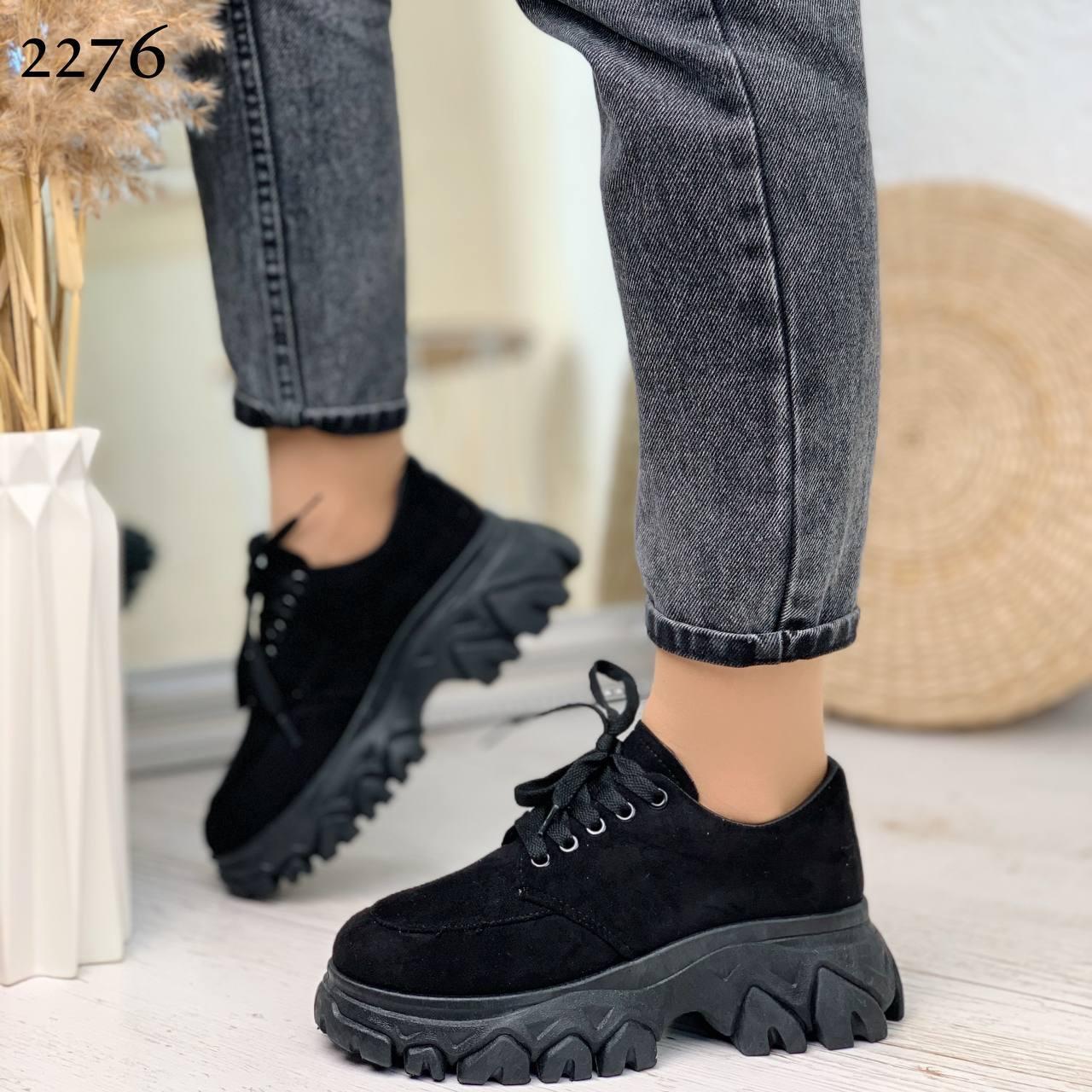 Женские кроссовки черные эко-замш подошва 6 см
