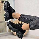 Женские кроссовки черные эко-замш подошва 6 см, фото 4