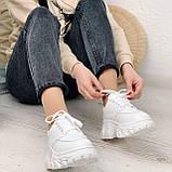 ТОЛЬКО 24 см! Стильные кроссовки женские белые на платформе 6 см эко-кожа, фото 4