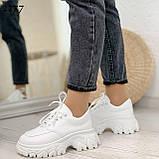 ТОЛЬКО 24 см! Стильные кроссовки женские белые на платформе 6 см эко-кожа, фото 3