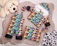 Детский зимний комбинезон тройка разноцветный SKL11-260910